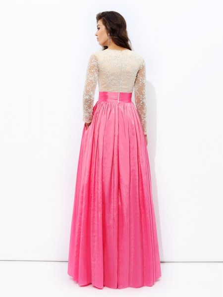 A-line/Princess Lace Floor-Length V-neck Long Sleeves Taffeta Dresses