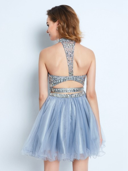 A-Line/Princess Short/Mini Sleeveless Beading High Neck Net Two Piece Dresses