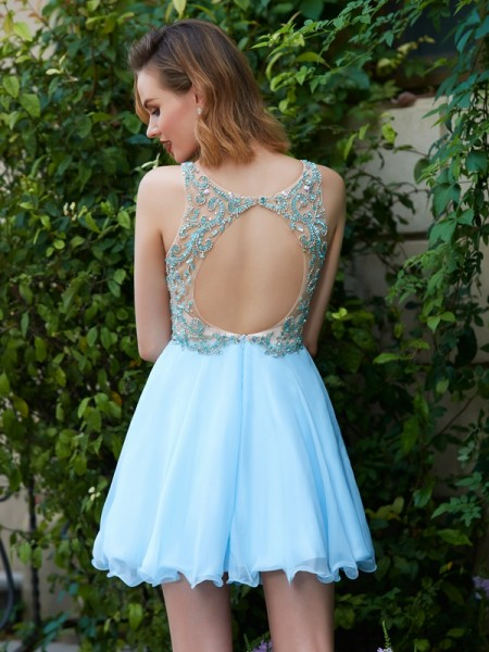 A-Line/Princess Short/Mini Sleeveless Beading Scoop Chiffon Dresses