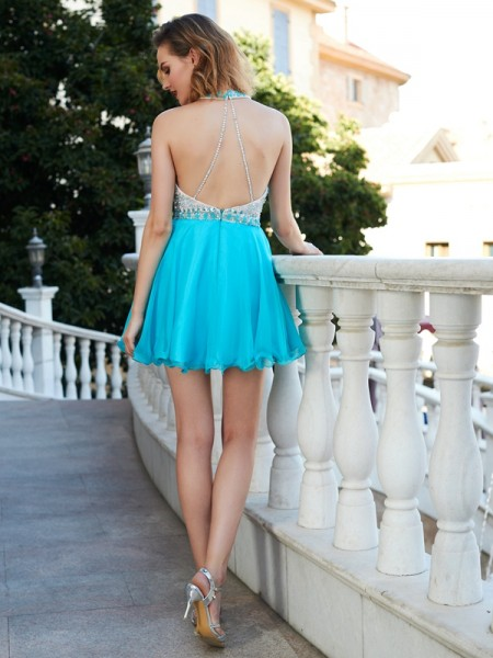 A-Line/Princess Short/Mini Sleeveless Beading Halter Chiffon Dresses