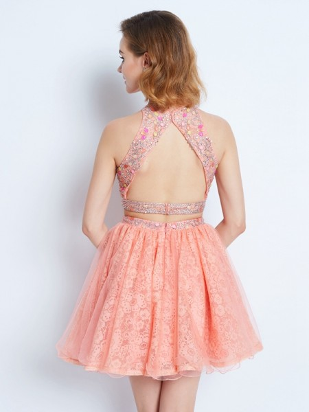 A-Line/Princess Short/Mini Sleeveless Lace Jewel Lace Two Piece Dresses