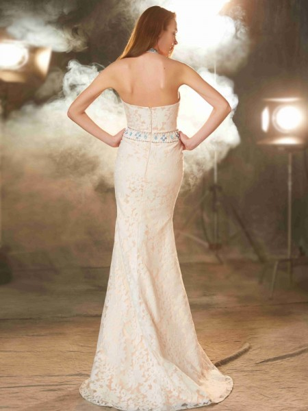 Sheath/Column Halter Sleeveless Lace Floor-Length Lace Dresses