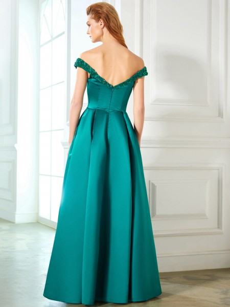 A-Line/Princess Off-the-Shoulder Sleeveless Satin Floor-Length Sequin Dresses