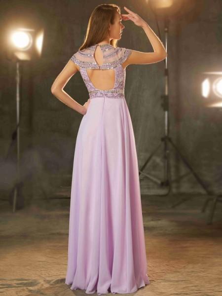 A-Line/Princess Scoop Short Sleeves Chiffon Floor-Length Beading Dresses