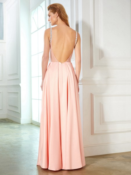 A-Line/Princess Scoop Sleeveless Satin Floor-Length Beading Dresses