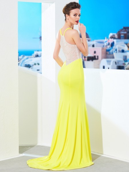 Trumpet/Mermaid V-neck Sleeveless Spandex Sweep/Brush Train Beading Dresses