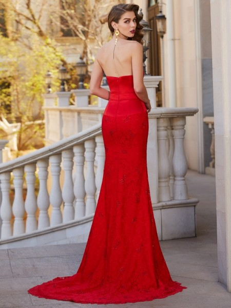 Trumpet/Mermaid Strapless Sleeveless Satin Sweep/Brush Train Beading Dresses