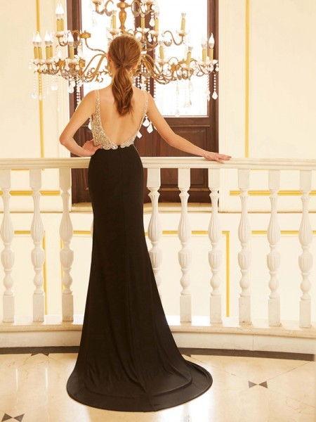 Sheath/Column V-neck Sleeveless Spandex Sweep/Brush Train Beading Dresses
