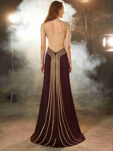Sheath/Column Straps Sleeveless Jersey Sweep/Brush Train Beading Dresses