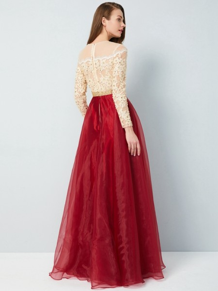 A-Line/Princess Sheer Neck Long Sleeves Organza Floor-Length Applique Dresses