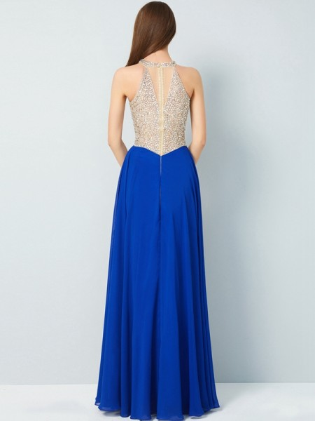 A-Line/Princess Scoop Sleeveless Chiffon Floor-Length Crystal Dresses