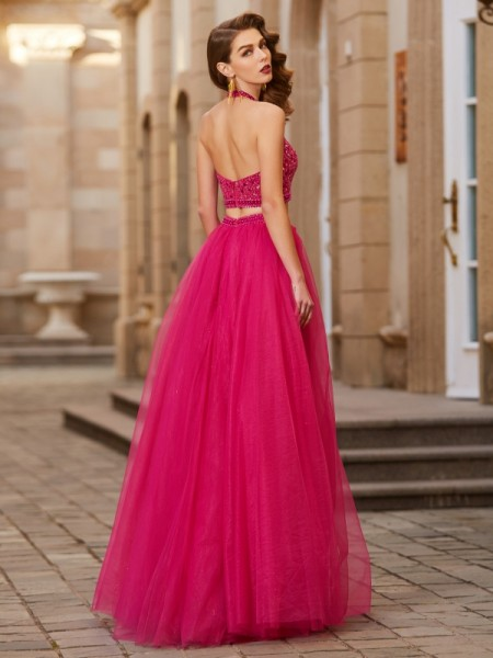 A-Line/Princess Halter Sleeveless Tulle Floor-Length Beading Dresses