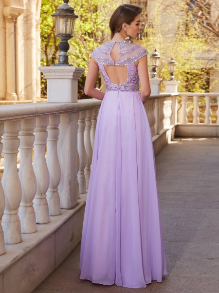A-Line/Princess Scoop Short Sleeves Chiffon Floor-Length Beading Dresses
