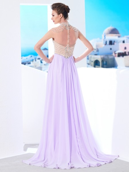 A-Line/Princess High Neck Sleeveless Chiffon Sweep/Brush Train Crystal Dresses