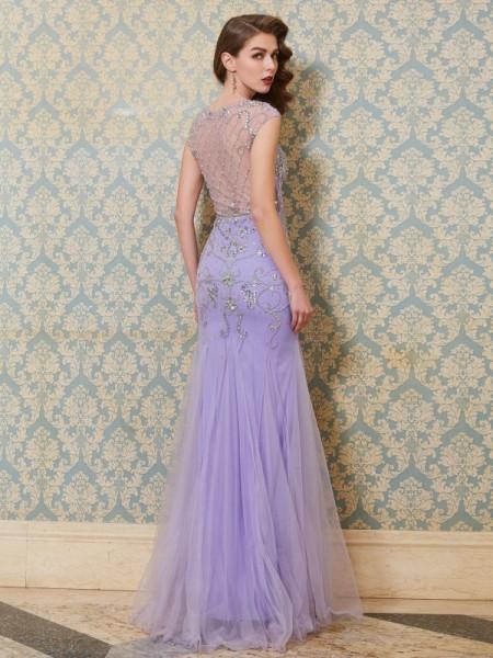 Trumpet/Mermaid Scoop Sleeveless Tulle Floor-Length Beading Dresses