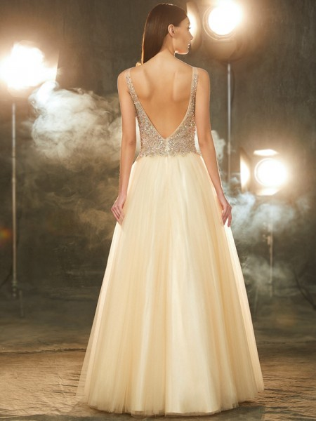 Ball Gown V-neck Sleeveless Tulle Floor-Length Beading Dresses