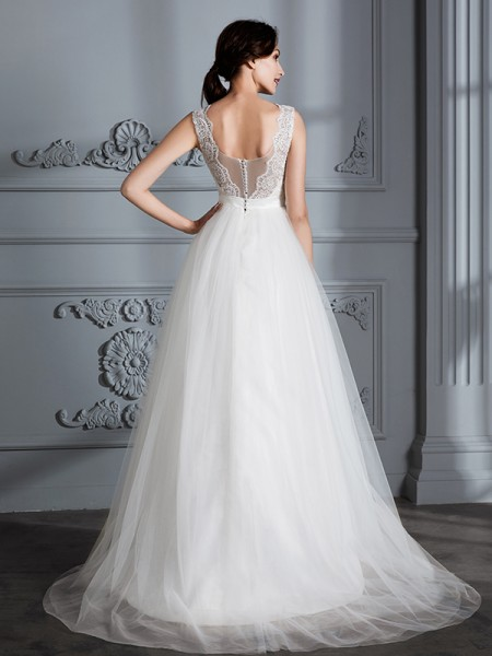 A-Line/Princess Sweep/Brush Train V-neck Sleeveless Ivory Tulle Wedding Dresses