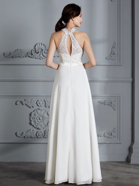 A-Line/Princess Floor-Length Scoop Sleeveless Ivory Chiffon Wedding Dresses