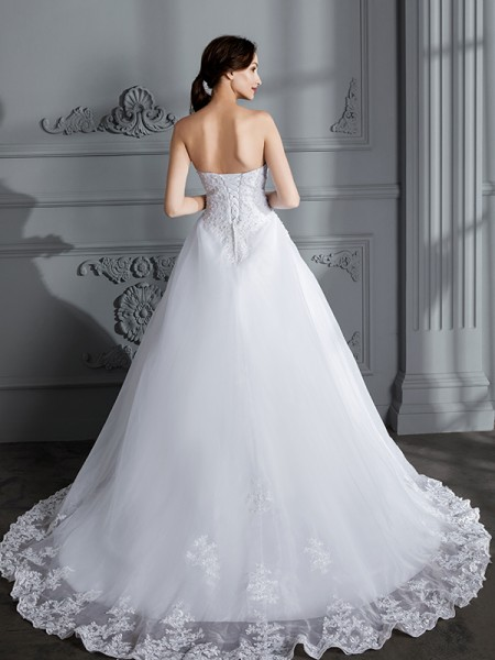 Ball Gown Court Train Strapless Sleeveless White Organza Wedding Dresses
