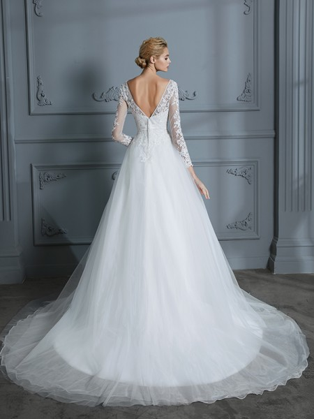 Ball Gown Court Train V-neck Long Sleeves Ivory Tulle Wedding Dresses