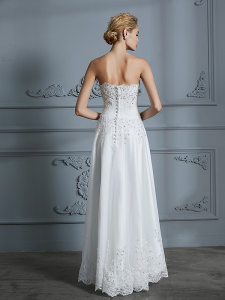 A-Line/Princess Asymmetrical Sweetheart Sleeveless Ivory Tulle Wedding Dresses