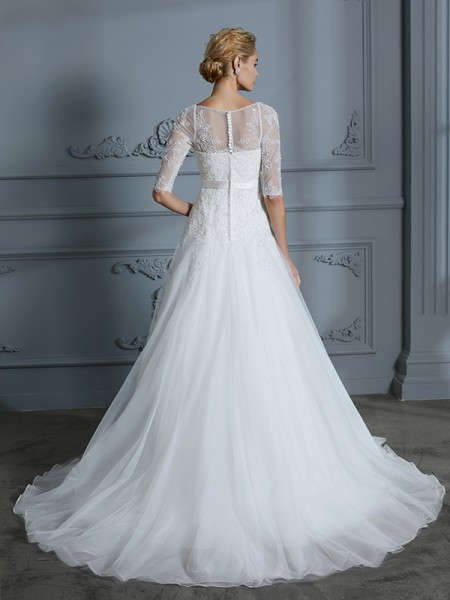 A-Line/Princess Court Train Scoop 1/2 Sleeves Ivory Tulle Wedding Dresses