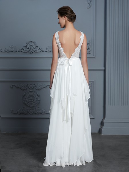 A-Line/Princess Ruffles Floor-Length Scoop Sleeveless Chiffon Wedding Dresses