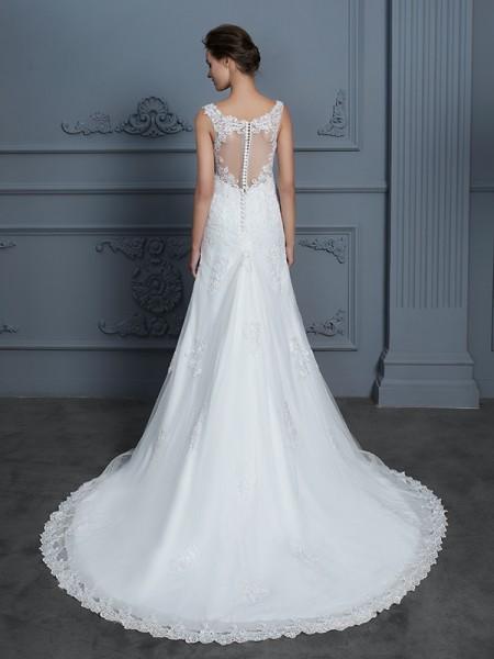 Trumpet/Mermaid Lace Court Train V-neck Sleeveless Tulle Wedding Dresses