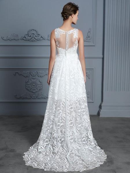 A-Line/Princess Lace Asymmetrical Scoop Sleeveless Lace Wedding Dresses