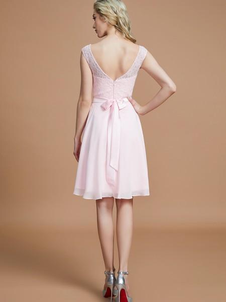 A-Line/Princess Short/Mini Bateau Sleeveless Pink Chiffon Bridesmaid Dresses
