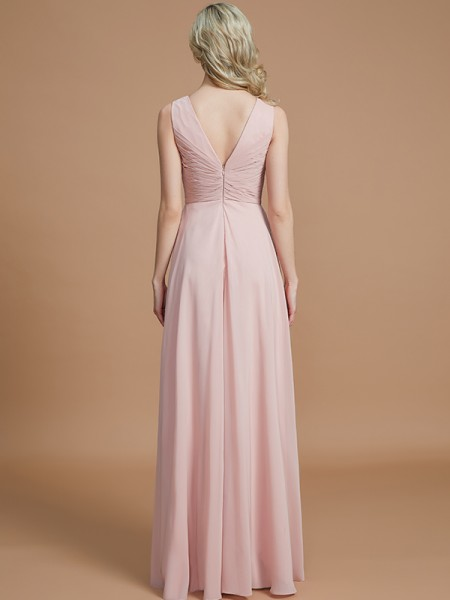 A-Line/Princess Floor-Length V-neck Sleeveless Pearl Pink Chiffon Bridesmaid Dresses