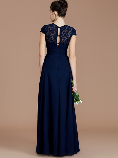 A-Line/Princess Floor-Length Jewel Short Sleeves Dark Navy Chiffon Bridesmaid Dresses