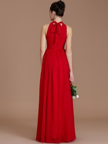 A-Line/Princess Floor-Length Halter Sleeveless Red Chiffon Bridesmaid Dresses