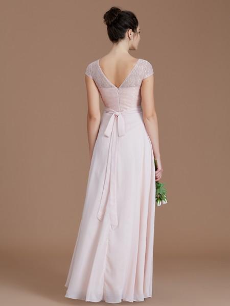 A-Line/Princess Floor-Length Bateau Sleeveless Pearl Pink Chiffon Bridesmaid Dresses