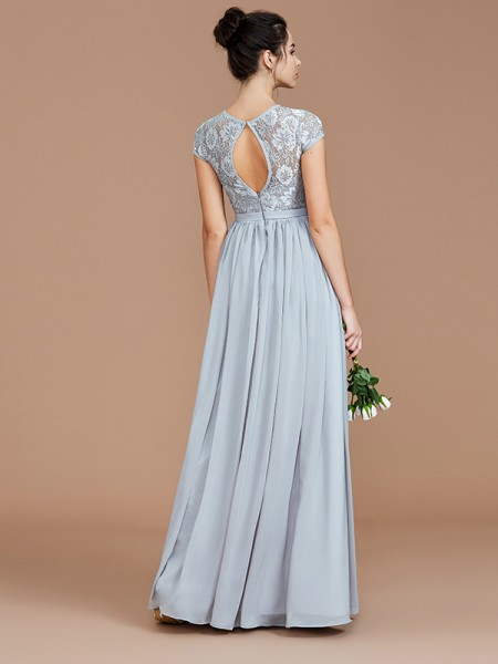 A-Line/Princess Floor-Length Jewel Short Sleeves Silver Chiffon Bridesmaid Dresses