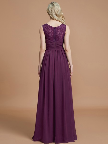A-Line/Princess Floor-Length V-neck Sleeveless Grape Chiffon Bridesmaid Dresses