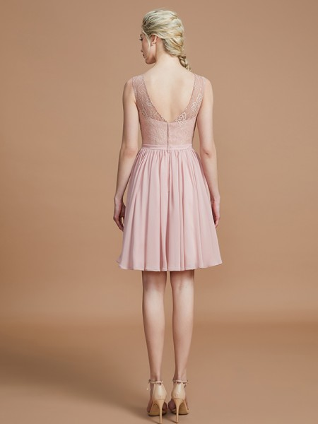 A-Line/Princess Short/Mini V-neck Sleeveless Pearl Pink Chiffon Bridesmaid Dresses
