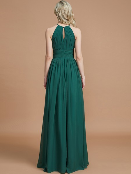 A-Line/Princess Floor-Length Scoop Sleeveless Dark Green Chiffon Bridesmaid Dresses
