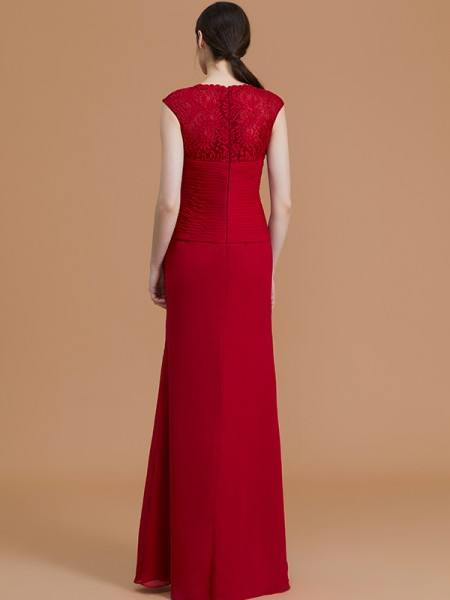 Sheath/Column Floor-Length Jewel Sleeveless Burgundy Chiffon Bridesmaid Dresses