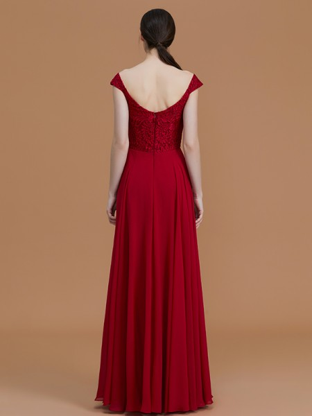 A-Line/Princess Floor-Length V-neck Sleeveless Burgundy Chiffon Bridesmaid Dresses