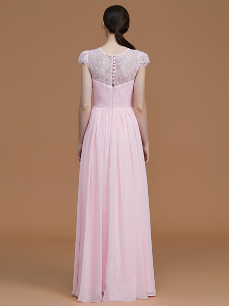 A-Line/Princess Floor-Length Jewel Short Sleeves Pink Chiffon Bridesmaid Dresses