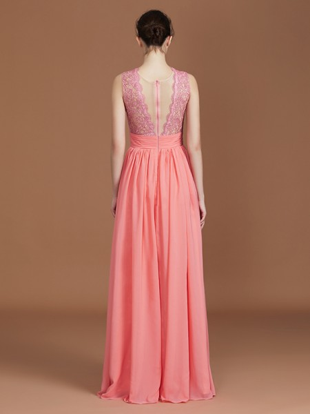 A-Line/Princess Lace Sleeveless Floor-Length Chiffon Jewel Bridesmaid Dresses