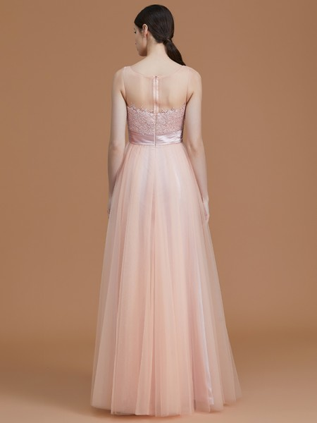 A-Line/Princess Floor-Length Bateau Sleeveless Pink Tulle Bridesmaid Dresses