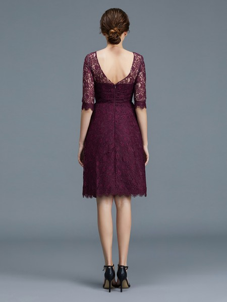 A-Line/Princess Lace 1/2 Sleeves Knee-Length Satin Bateau Bridesmaid Dresses
