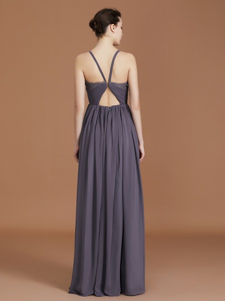A-Line/Princess Lace Sleeveless Floor-Length Chiffon Spaghetti Straps Bridesmaid Dresses
