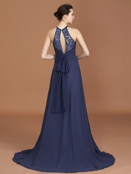 A-Line/Princess Lace Sleeveless Sweep/Brush Train Chiffon Scoop Bridesmaid Dresses