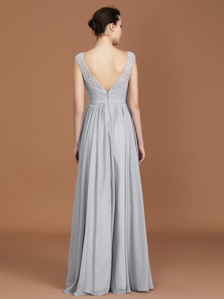 A-Line/Princess Lace Sleeveless Floor-Length Chiffon V-neck Bridesmaid Dresses