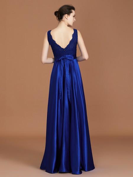 A-Line/Princess Lace Sleeveless Asymmetrical Satin V-neck Bridesmaid Dresses