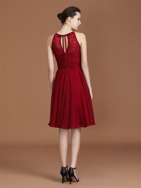 A-Line/Princess Lace Sleeveless Knee-Length Chiffon Halter Bridesmaid Dresses