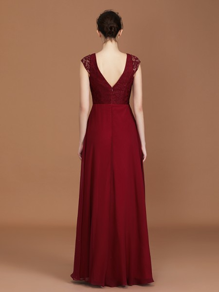 A-Line/Princess Lace Short Sleeves Floor-Length Chiffon V-neck Bridesmaid Dresses